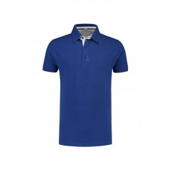 POLOSHIRT L&S POLO COTTON ELASTAAN SS 3562 ROYALBLUE