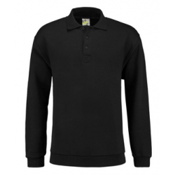 POLOSWEATER L&S 3210 BLACK