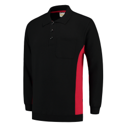 POLOSWEATER TRICORP 302001 TS2000 ZWART MET ROOD
